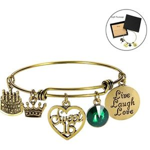 Jewelry - May Birthday Bangles Live Laugh Love Charms Births